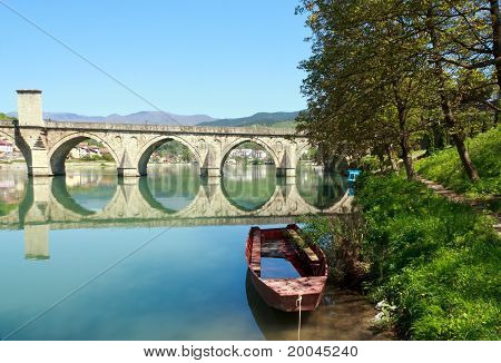 Old,Famous bridge on the Drina in Visegrad , Bosnia poster