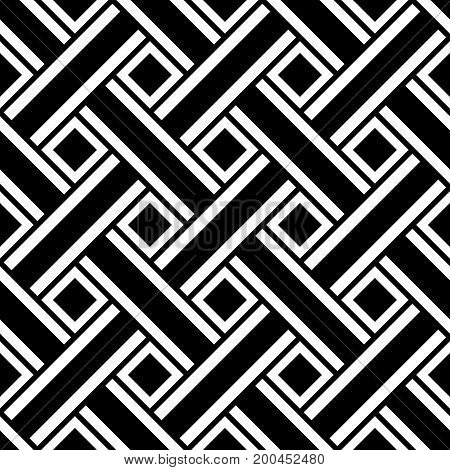 Abstract seamless pattern of interlaced lines, black and white geometric ornament