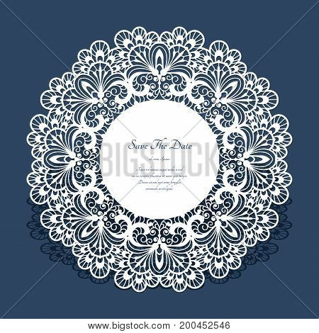 Greeting card or wedding invitation template with ornate lace edge, circle doily with openwork border, cutout paper round ornament, swirly vector decoration for laser cutting or wood manufacturing