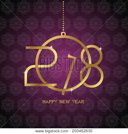 Happy New Year 2018 Text Design. Golden Text In Form Christmas Ball Shape On Dark Pink Background.