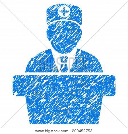 Grunge Medical Official Lecture icon with grunge design and scratched texture. Unclean vector blue pictogram for rubber seal stamp imitations and watermarks. Draft sticker symbol.