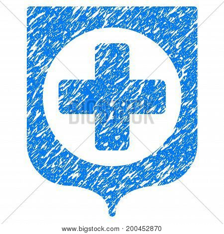 Grunge Medical Shield icon with grunge design and scratched texture. Unclean vector blue pictogram for rubber seal stamp imitations and watermarks. Draft emblem symbol.