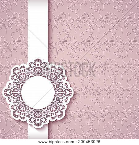 Elegant greeting card with cutout paper lace label vintage wedding invitation or announcement template