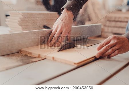 A Carpenter Works On Woodworking The Machine Tool. Carpenter Working On Woodworking Machines In Carp