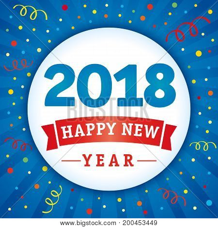 2018 vector numbers and text Happy New Year on flash radial lines blue background and colored confetti. 2018 happy new year holiday confetti card