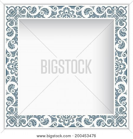 Square photo frame with lace border pattern, cutout paper decoration