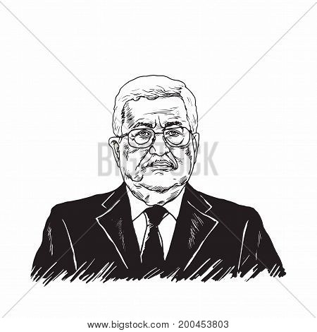 Mahmoud Abbas, President of Palestine, Black and White Vector Design Illustration, August 20, 2017.