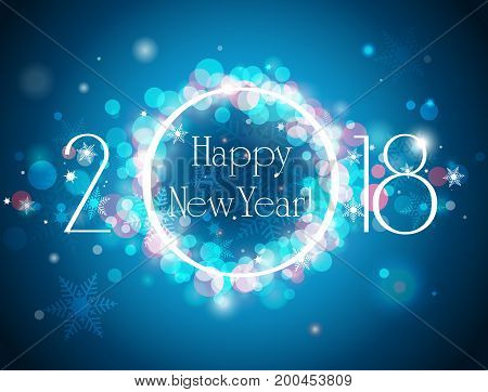Happy New Year 2018 blue background vector illustration with well organized layers