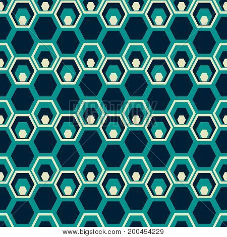 Seamless geometric pattern of hexagons of decreasing sizes placed one inside another. Abstract print in retro blue colors