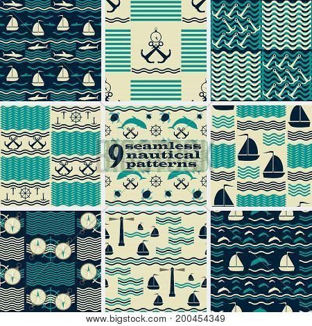 Set of seamless nautical patterns in retro color palette. Marine theme vector illustrations
