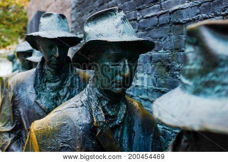 WASHINGTON DC, USA - 9 NOVEMBER  2015: he Appalachian Farm Couple Sculpture, Roosevelt memorial on November 9th,2015 in Washington DC USA.