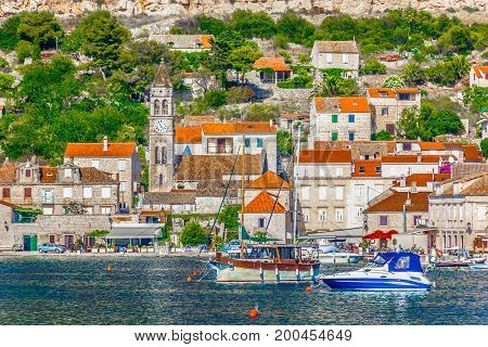 Seafront scenic view at Vis town in Croatia, summer travel destination in Europe, Mediterranean.