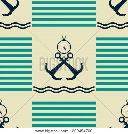 Seamless nautical pattern with strips, waves, crossed anchors and compasses. Marine theme vector print in retro color palette