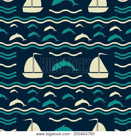 Seamless nautical pattern with waves, diving dolphins and sailboats. Marine theme vector print in retro color palette