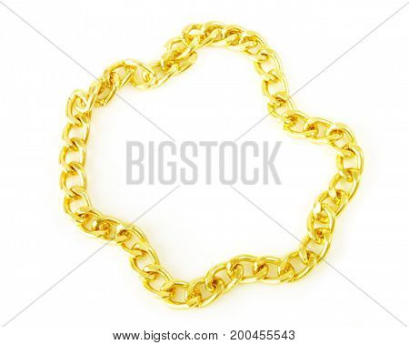 image of golden chain isolated on white back