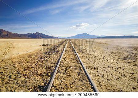 View on railroad by Uyuni in Altiplano of Bolivia