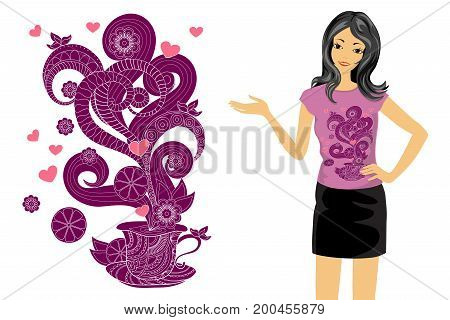 Isolated print with zen tangled shapes and patterned cup.T-shirt tunic and bag's design. Cartoon girl with t-shirt's mock-up on the white background. Eps 10.