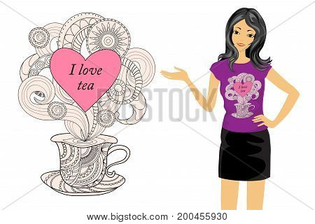 Isolated print with zen tangled shapes heart patterned cup and text I love tea.T-shirt tunic and bag's design. Cartoon girl with t-shirt's mock-up on the white background. Eps 10.
