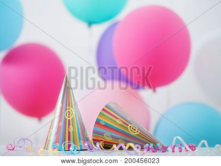 the background of balloons and hats  for birthday