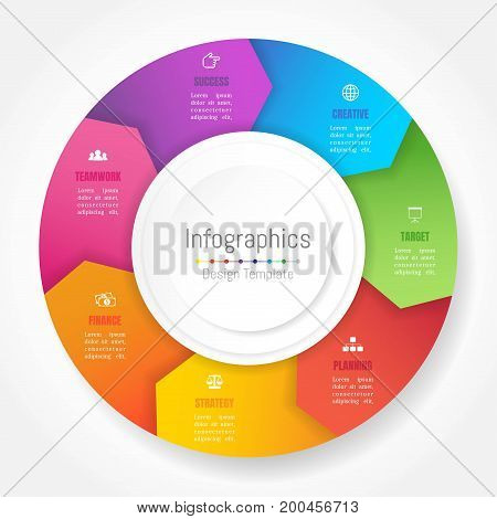 Infographic design elements for your business data with 7 options parts steps timelines or processes Arrow wheel circle style. Vector Illustration.