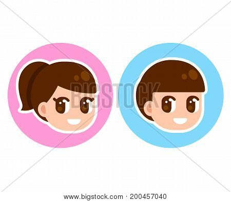 Cute anime children face in circle boy and girl character set. Manga style cartoon illustration. Gender selection for game or website.