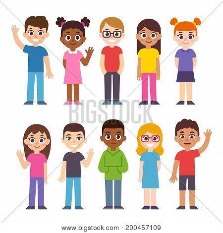 Set of cute diverse cartoon children. International group of kids vector illustration.