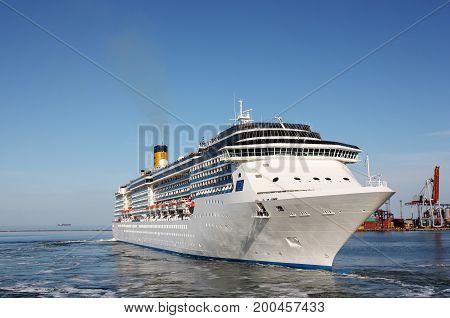 big luxury white cruise ship in marine