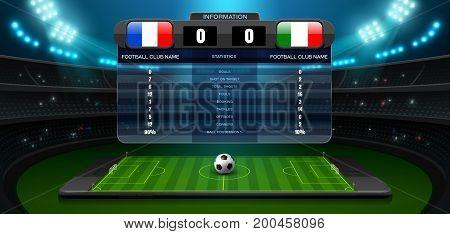 mobile football stadium and spotlight vector illustration