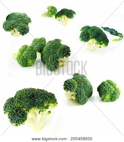 Fresh cabbage broccoli isolated on white background