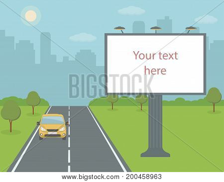 Big billboard on road with city view background. Flat style, vector illustration.