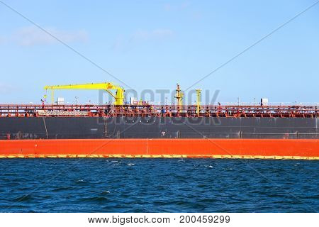 Description manifold on the deck of chemical tanker ship.