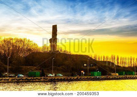 Port of Gdansk at morning Westerplatte, Poland.