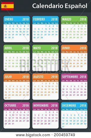 Spanish Calendar for 2018. Scheduler, agenda or diary template. Week starts on Monday