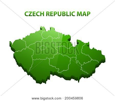 Highly detailed three dimensional map of Czech republic with regions border