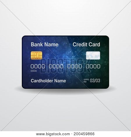 Detailed realistic vector credit card. Front side. Money, payment symbol
