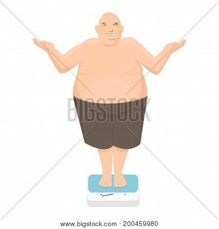 Fat man stands on weight scale and shrug
