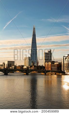 London, United Kingdom-August 13, 2017: The view of Shard, a 95-storey skyscraper in Southwark, London.It is the glass clad pyramidal tower with 72 habitable floors.