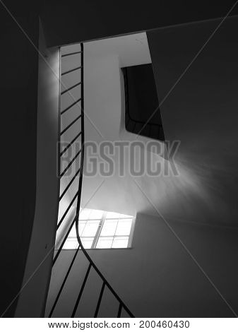 Staircase and Banister with Sunlight and Mystery Blackhole Attic