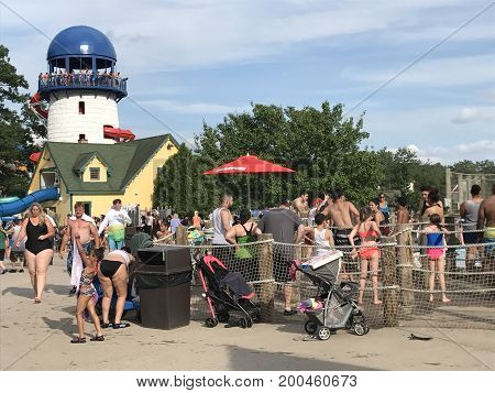 BRISTOL, CT - JUL 8: Lake Compounce in Bristol, Connecticut, as seen on July 8, 2017. Opened in 1846, it is the oldest continuously-operating amusement park in the United States.