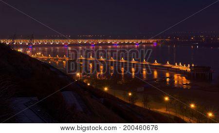 river citiy buildings nightscape landscape nature water bridge illumination