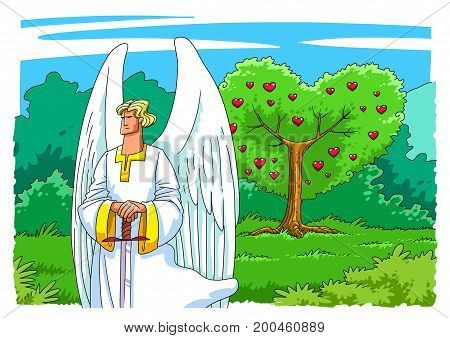 An Angel of God with a Sword guards the Entrance to the Garden of Eden to the Tree of Life