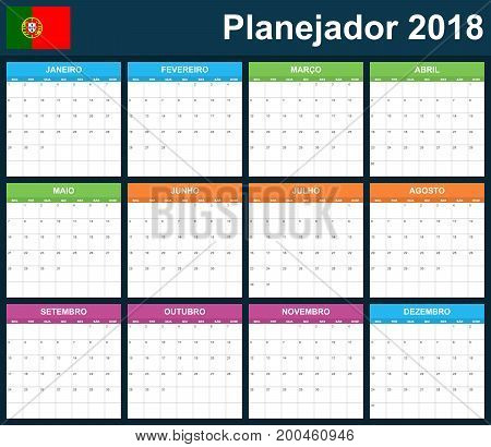 Portuguese Planner blank for 2018. Scheduler, agenda or diary template. Week starts on Monday