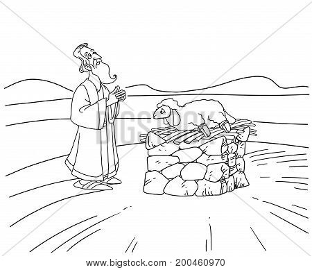 Patriarch Abraham stands near the altar and sacrifices a lamb
