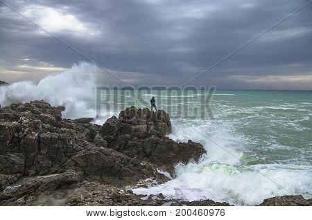 Extreme fishing. Panorama of sea shore. Greece