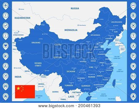 The detailed map of China with regions or states and cities, capitals. With map pins or pointers. Place location markers or signs