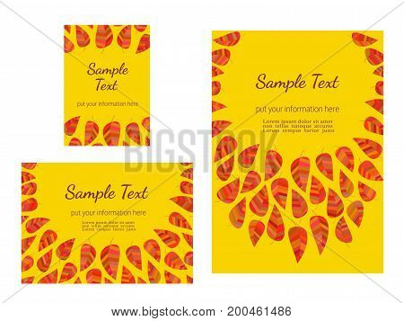 Set of advertising flyers templates for Presentation. Leaflet Cover Page Design. Autumn celebration poster. Autumnal abstract red yellow leaves. Season event background vector vintage illustration