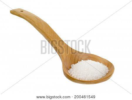 Wooden Shovel Full of Sea Salt Isolated