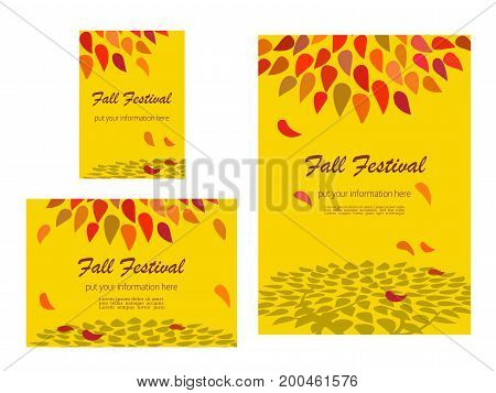 Set of advertising flyers templates for Presentation. Leaflet Cover Page Design. Autumn Fall Festival poster. Autumnal abstract red yellow leaves. Season event background vector vintage illustration