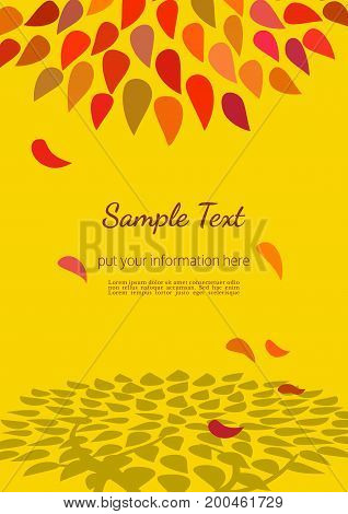 Template Design poster of tree in Autumn. Hand drawn cartoon retro style. Autumnal abstract leaf silhouette. Red yellow leaves. Idea for decorative seasonal event banner. Vector vintage illustration