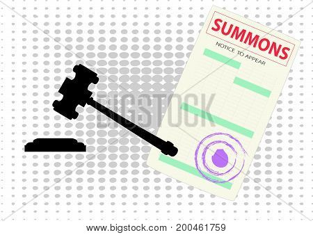 the form of the summons and the court hammer the grey spots